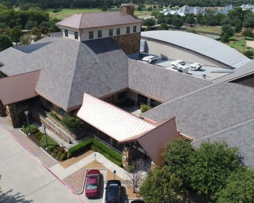Aerial view of Cooper Fitness Center commercial roofing