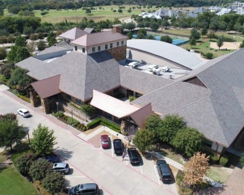 Complete aerial view of Cooper Fitness Center commercial roofing