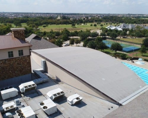 Close up aerial view of Cooper Fitness Center commercial roofing