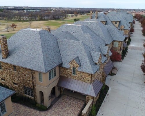 Close up aerial view of 17 Green Condos commercial roofing