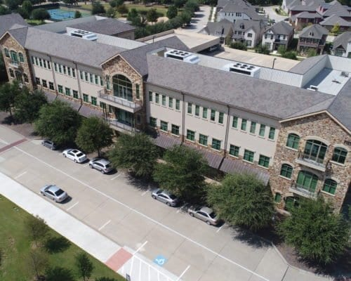 Aerial view of Town Square commercial roofing