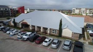 Aerial view of Champions School of Real Estate commercial roof