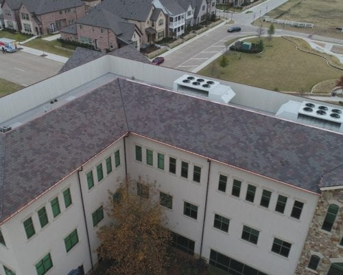 Close up aerial view of Town Square commercial roofing