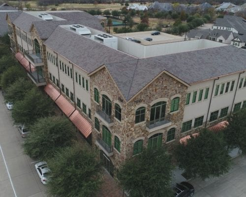 Corner aerial view of Town Square commercial roofing