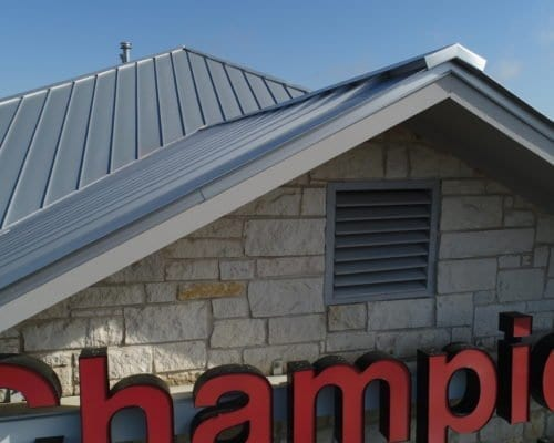 View of Champions School of Real Estate commercial roof eaves