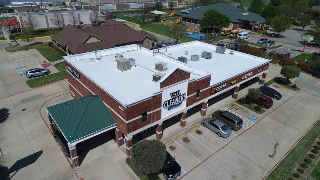 Aerial view of Vail Retail Center commercial roofing system