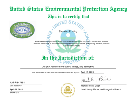 EPA certification to conduct lead-based paint renovation, repair, and painting activities pursuant to 40 CFR Part 745.89