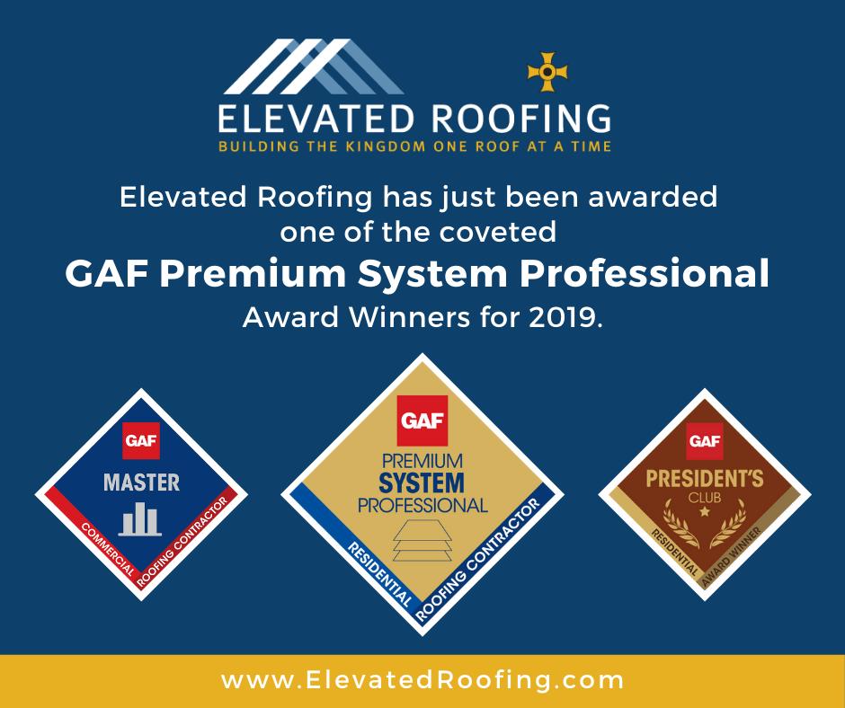 Elevated Roofing receives GAF Premium System Award