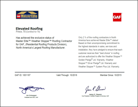 GAF Factory Certified Master Elite Certificate | Elevated Roofing