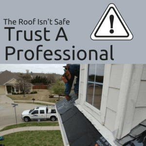 Person on roof unsafe message