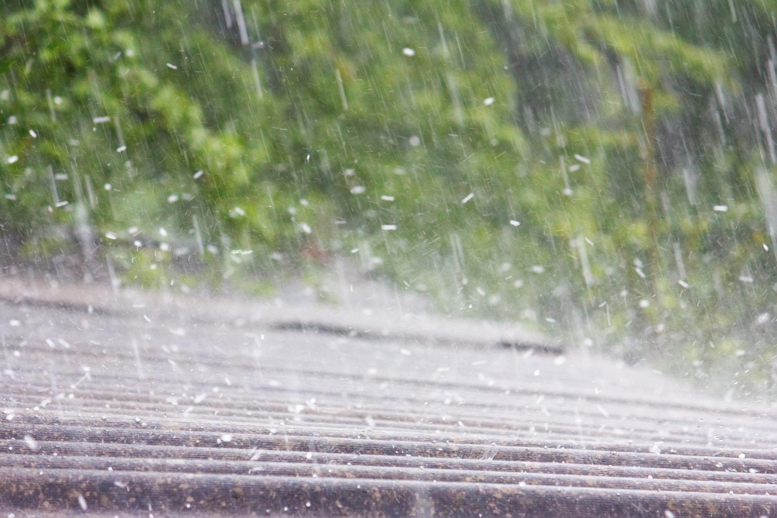 Hail hitting a roof